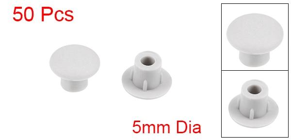 Screw Cap Cover,50Pcs 5mm Dia Black Plastic Locking Hole Plug Button Top Flush