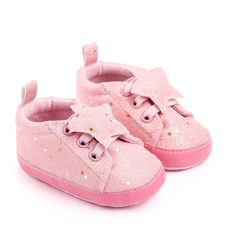 Bling Newborn Baby Shoes Girls Boy 2019 Infant Toddler Babies Walking Star Rose Gold Shoe Bowknot Baby Girls Shoes
