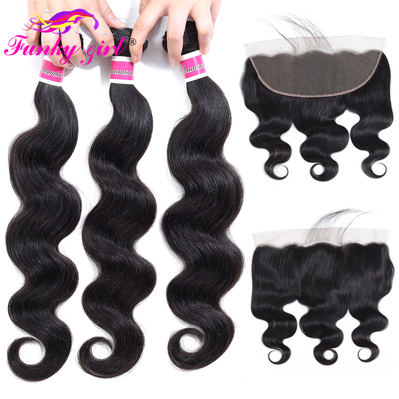 Funky Girl 3/4 Bundles Ear To Ear Lace Frontal Closure With Bundles Brazilian Body Wave Human Hair Non Remy Frontal With Bundle