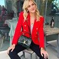 Echt Red Blazer Frauen Büro Dünnes Formales Jacke Mantel Casual Zweireiher Metall Tasten Blazer Arbeitskleidung Tops Hohe Qualität|Blazer|Damenbekleidung -