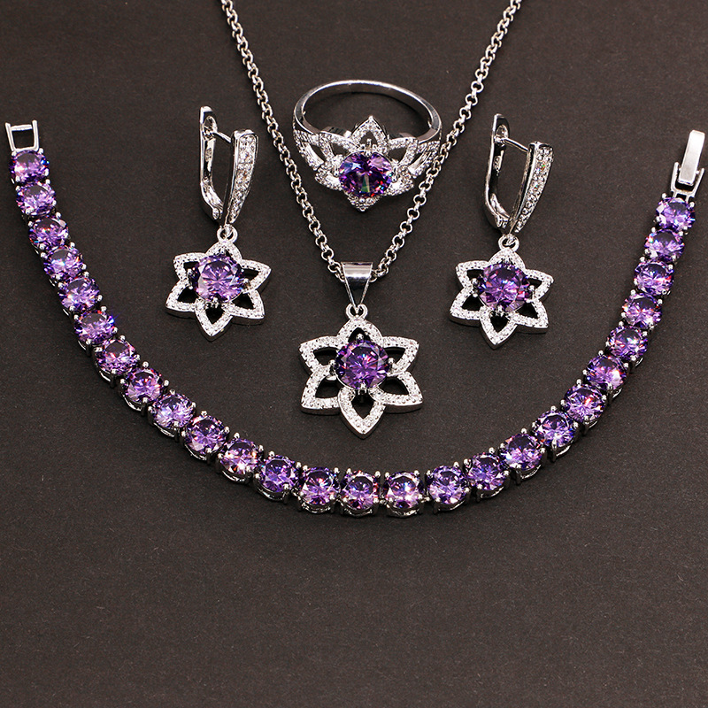 GZJY Women 925 Sterling Silver Jewelry Sets Purple Star Shape Wedding Ring Earrings Necklace Pendant Bracelet Sets for Christmas(China)