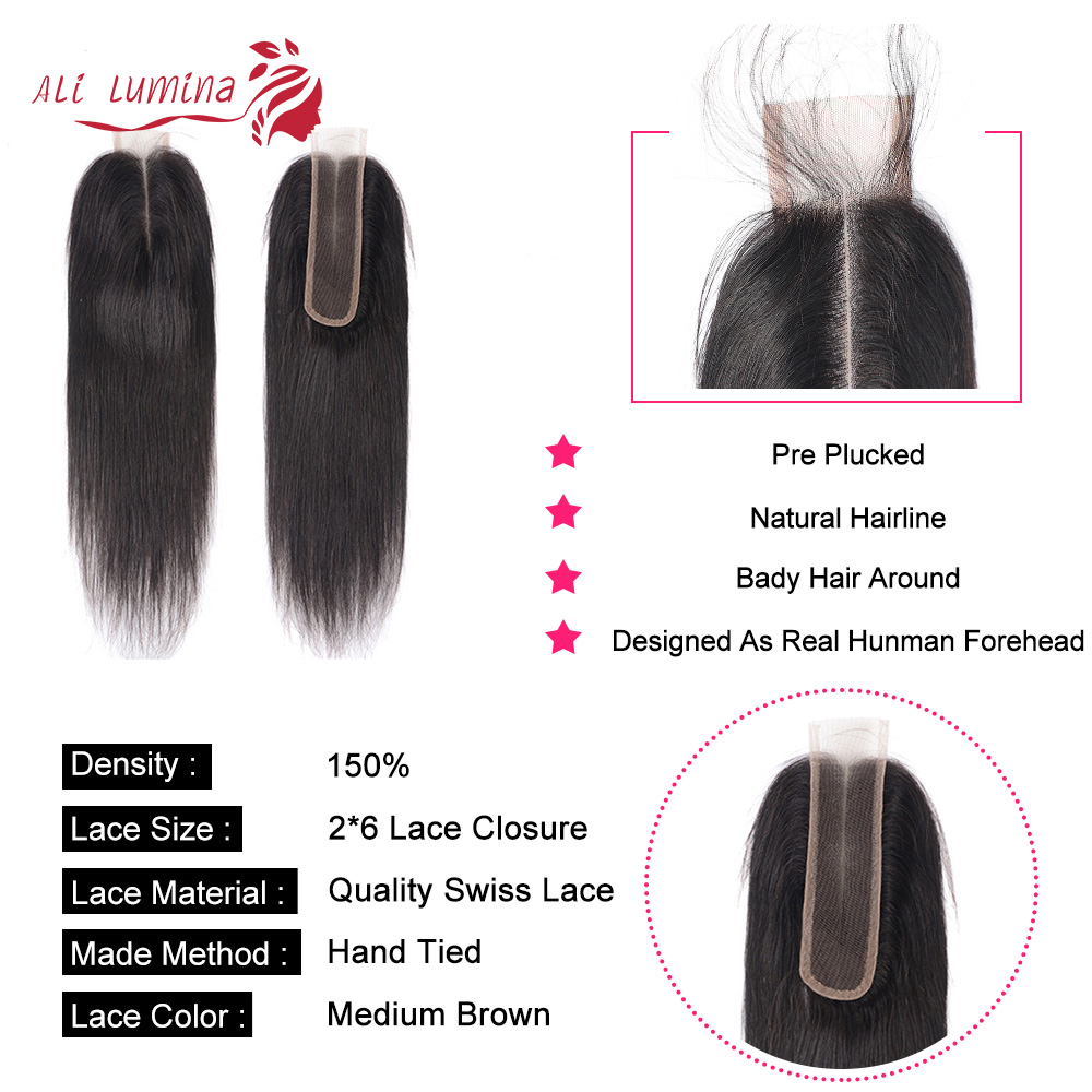 Kim K Closure   Middle Part Lace Closure Straight Natural Color 2x6 Closure Body Wave  With Baby Hair 4