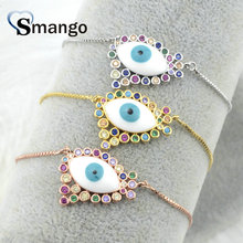 Wholesale Copper Micro Pave CZ Eyes Shape Charm Bracelet In 3 Colors Top Quality Plating of 5 Pcs,B0101