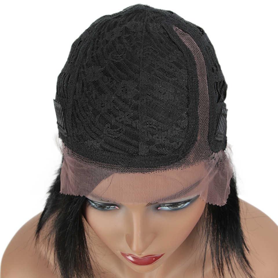 Rebecca Linke Seite Teil Peruanische Remy Gerade Bob Spitze Haar Perücken Kurze bunte Mix Farbe Menschliches Haar Spitze Perücken 2019 mode Wgs