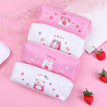 Korea Creative Strawberry Pencil Bag Cute Student Portable Large Capacity Milk Pencil Bag Multifunctional Stationery Pencil Case strawberry overlay pencil case