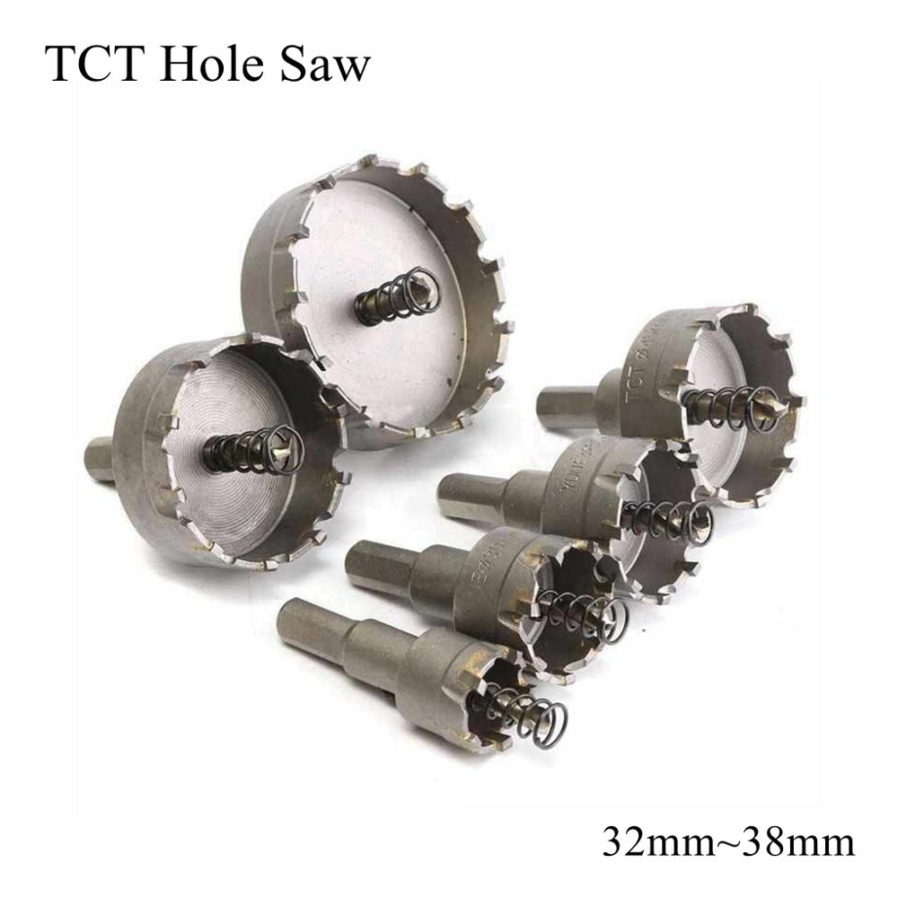 32mm 33mm 35mm 36mm 38mm TCT Hole Saw Blade HSS Metal Drill Bit Carbide Tip Cutter Metalworking Stainless Steel Iron Alloy