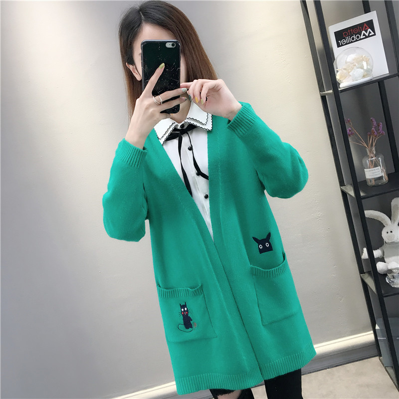 2019 Spring And Autumn New Loose Wild Cartoon Embroidery Long Cardigan Women Casual Solid Color Long-sleeve Sweater Woman <font><b>A2505</b></font> image