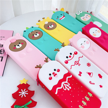 Creative Silicone Pen Box Pencil Case Stationery Bag School Supplies Travel Makeup Bag Zipper Pen Case Cosmetic Bags Girls Gift j26 kawaii cute moomin canvas pen bag pencil holder storage case school supply birthday gift cosmetic makeup travel