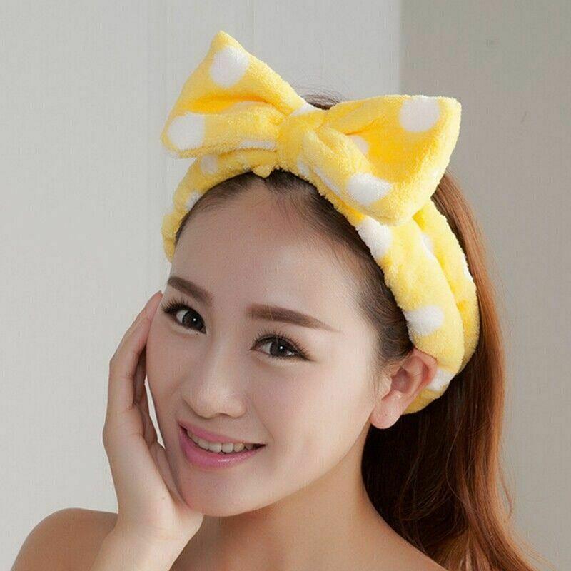Big Bow Headband Hair Ropes Mask Soft Hair Band Women Face Wash Makeup Band NEW