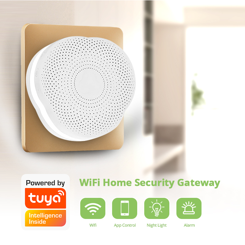 Golden Security 433MHz Smart Home Multifunctional WiFi Gateway Alarm System Intelligent Night Light Bell Tuya APP Control System