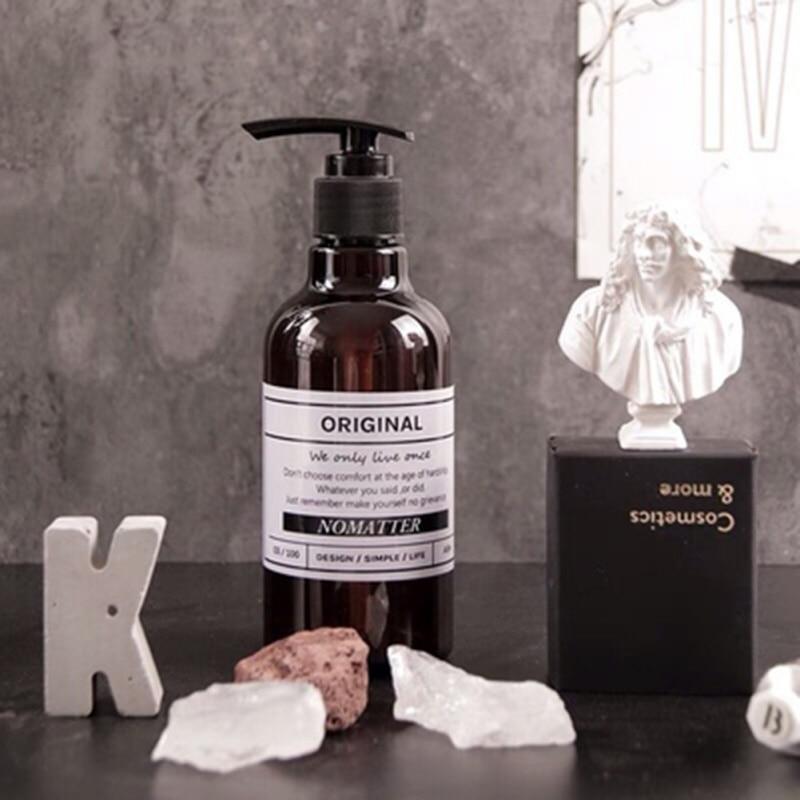 Simple Nordic Style Brown Refillable Bottle Shower Gel Shampoo Press Bottle 250ml/500ml