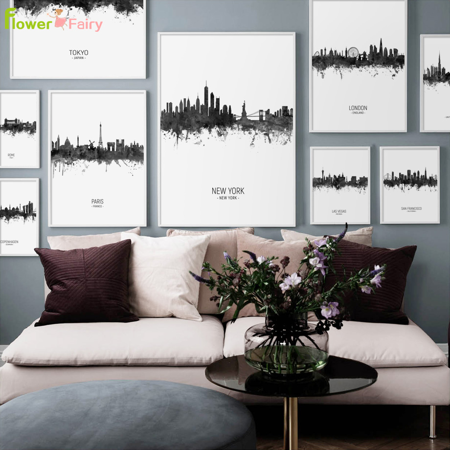 Grey City Building Wall Art Canvas Painting Nordic Poster Print Cuadros Pictures For Living Room Picture Quadro Unframed