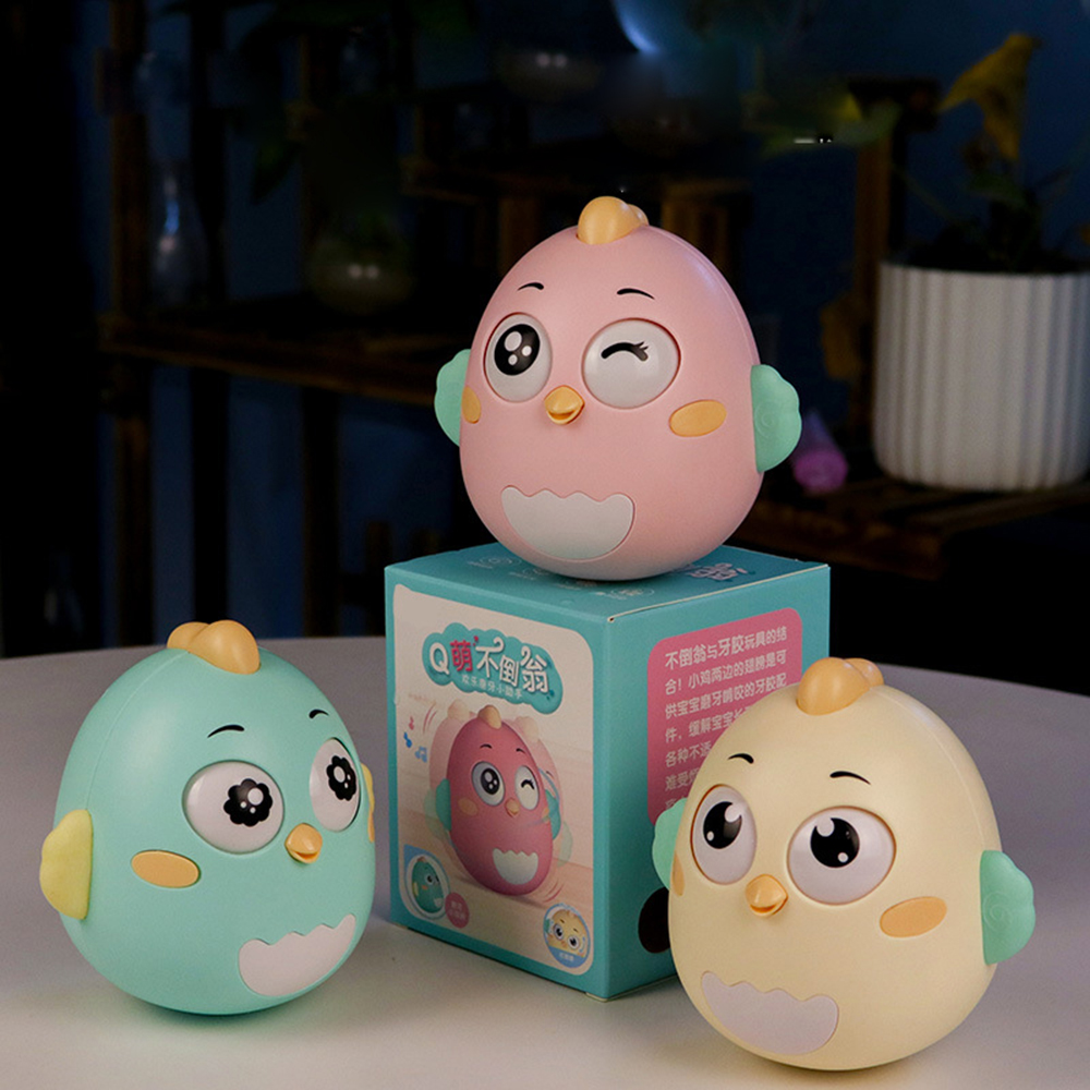 1Pc Baby Early Learning Crisp Ringtone Cute Chick Tumbler Toys Children's Gifts Education Puzzle Doll Waterway Dual-use Tumbler