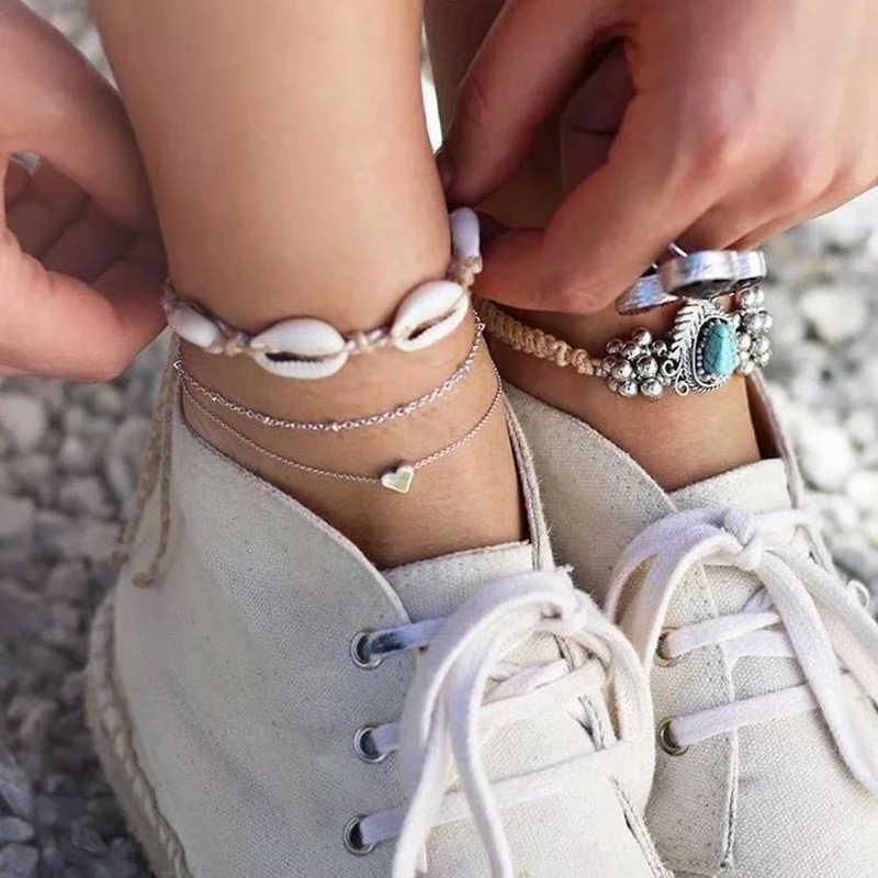 Винтажный серебряный цвет раковина Каури ножной браслет для женщин браслет на ногу модная цепочка на ногу девушки пляж украшения для лодыжки 2019