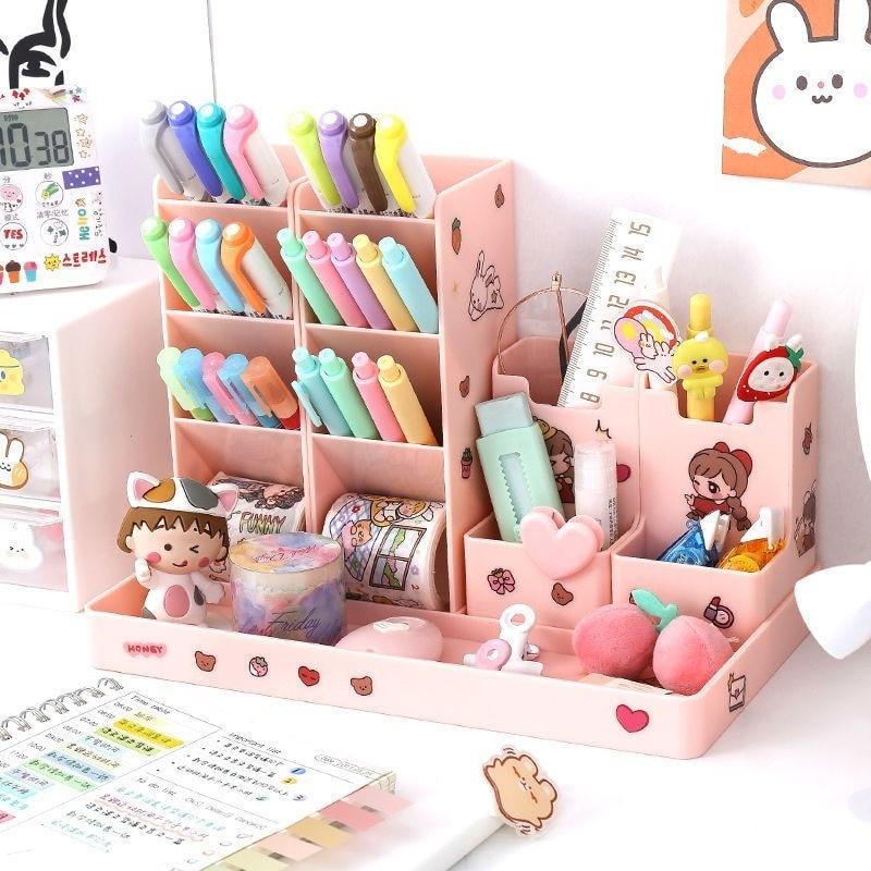 Pen Holder Cute Desktop Pencil Organizer Stationary Storage Box Office School Desk Chancery Stand Makeup Organiser Case Sticker