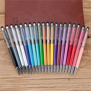 14 Colors Crystal Ballpoint Pen Fashion Creative Stylus yellow Touch Pen for Writing Stationery Office & School Black refill