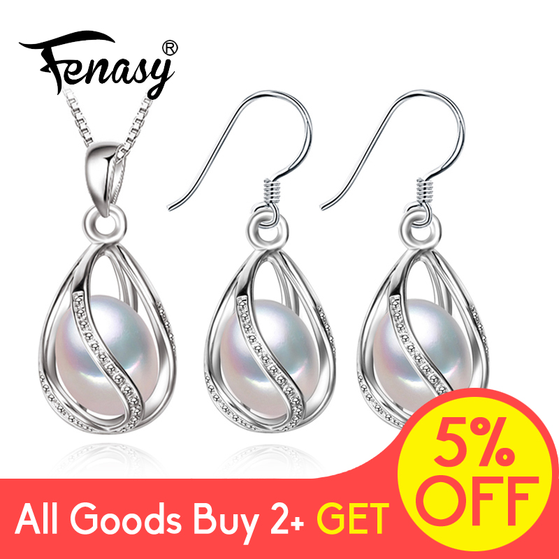 FENASY 925 Sterling Silver Set Natural Freshwater Pearl Jewerly Sets For Women Accessories Cage Jewellery Earrings Necklace Set