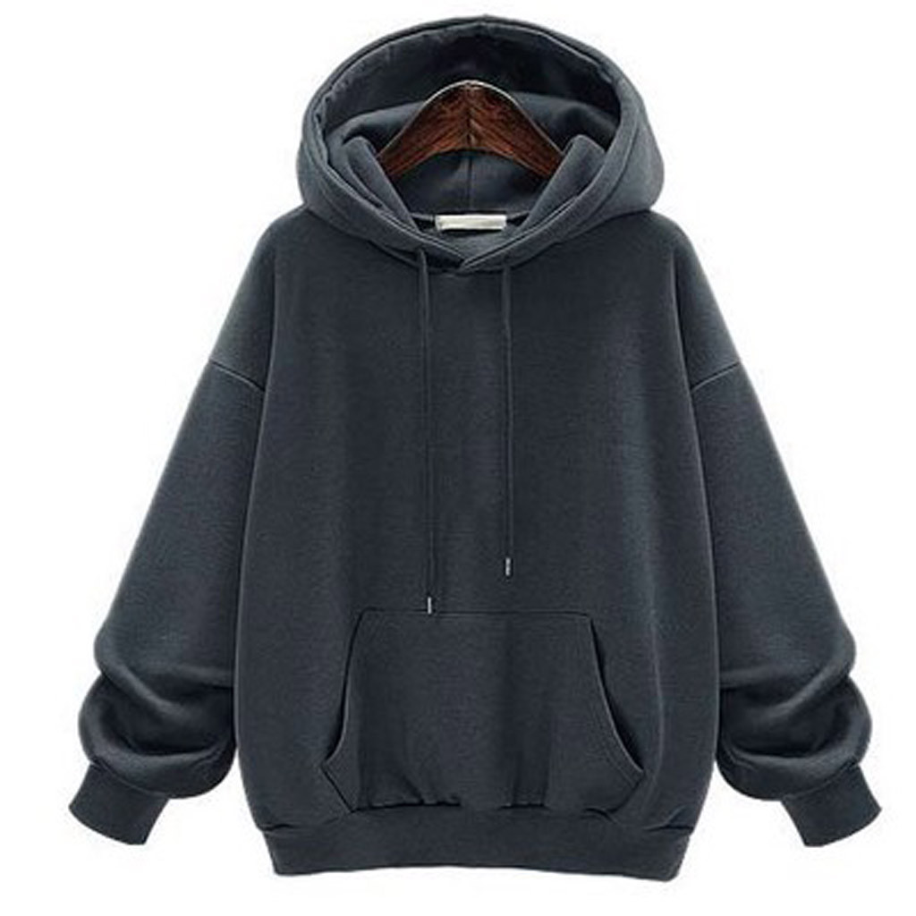 YUNY Womens Solid Long Sleeve Casual Cotton Hood Pullover Sweatshirt Grey L