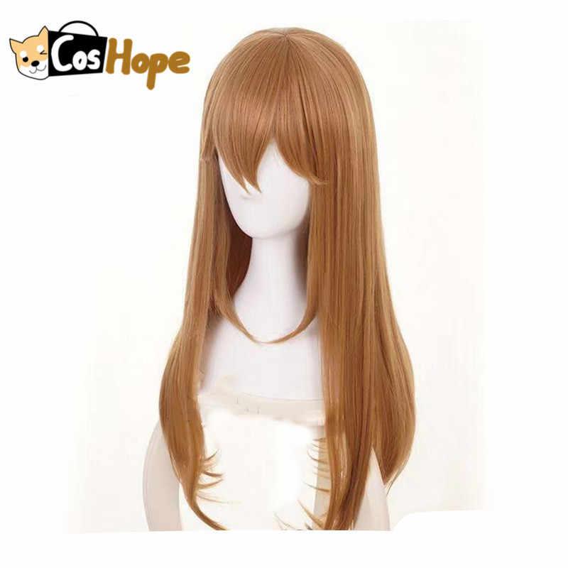 Platelet Cosplay peluca celdas en el trabajo Cosplay peluca marrón con flequillo largo recto Lolita pelo resistente al calor Cosplay peluca para las mujeres
