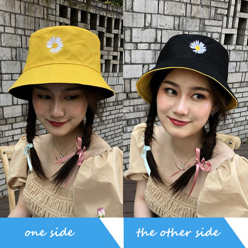 Calymel 2020 Spring Women Bucket Fishing Hats Sunscreen Sun Cap Little Daisies Double-sided Wear Spring Lady Fisherman Hat
