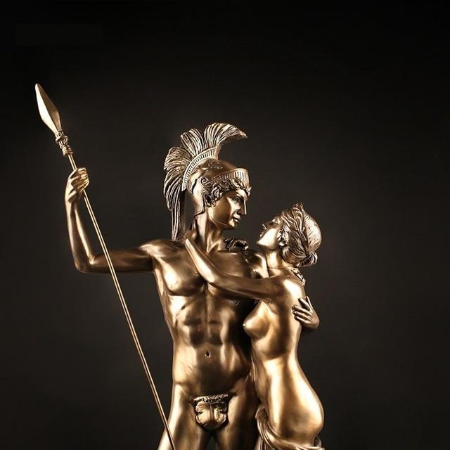 Antique Roman Lovers Warrior Sculpture Handmade Resin Statue 2