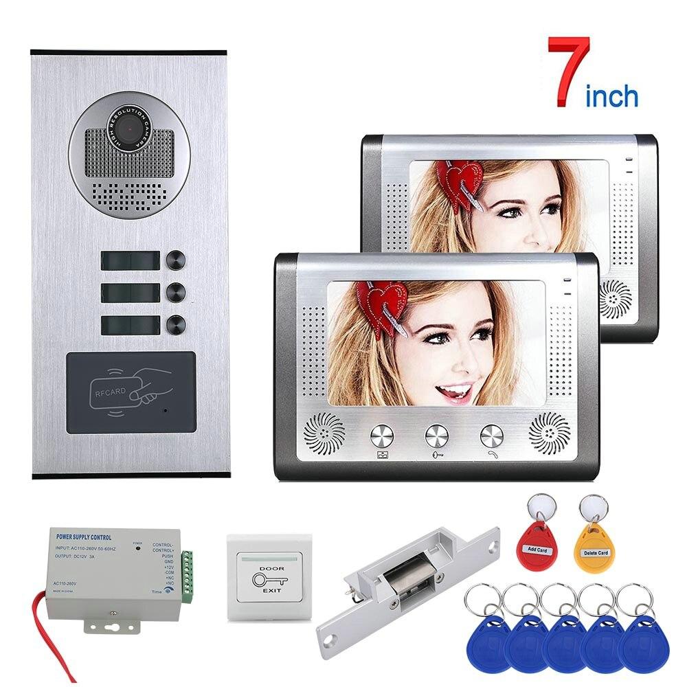 7 Inch 2 Apartment/Family Video Door Phone Intercom System RFID 1000TVL  Doorbell Camera +NO Electric Strike Door Lock