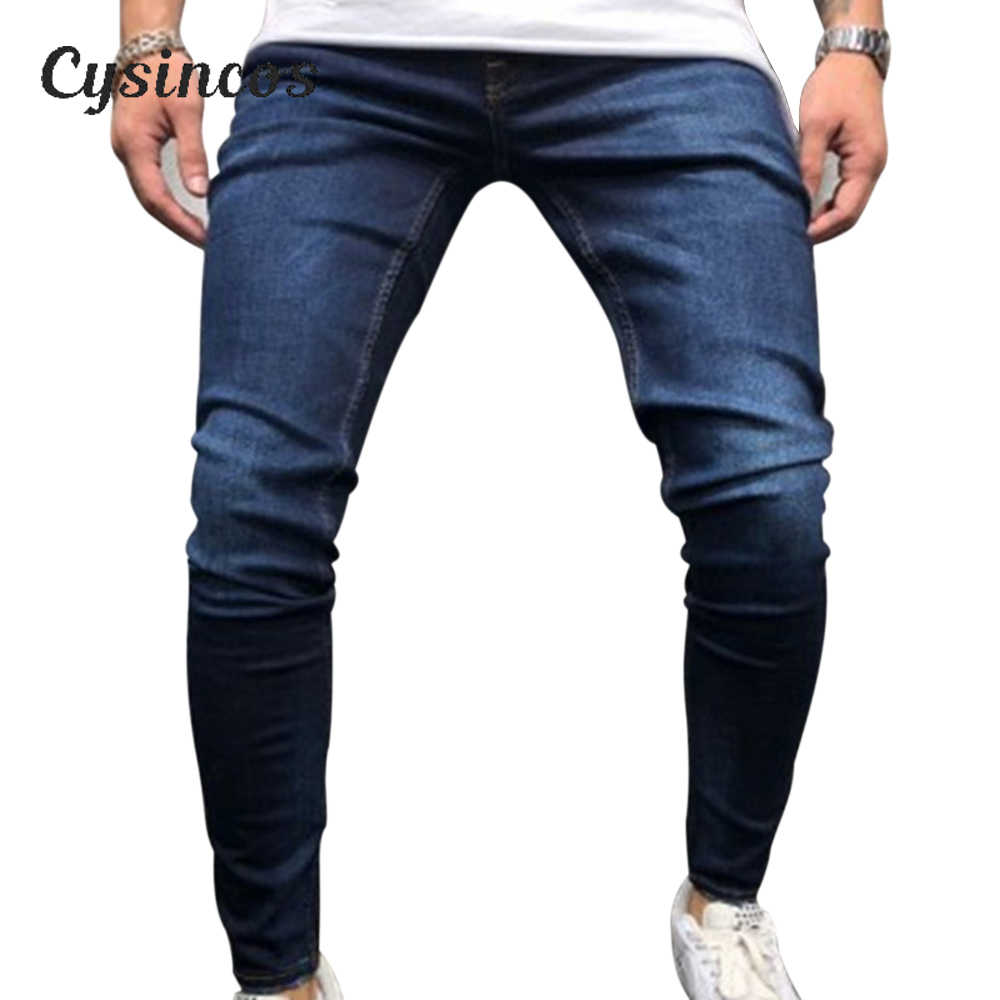 CYSINCOS Pencil Pants Elastic Sweatpants Men Fitness Solid Denim Long Pants Casual Pencil Jogger Casual Pants Black Blue Jeans
