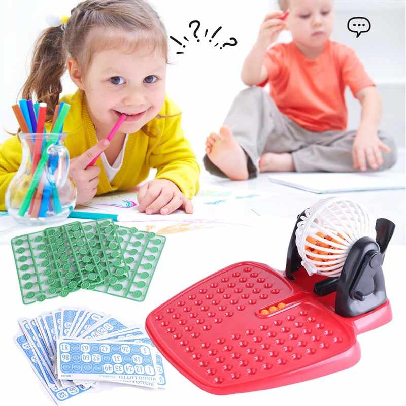 Bingo Lotto Mainan Anak Keluarga Game Bermain Set 90 Bola Bingo Lotto Set Hiburan Keluarga Permainan Bingo Mesin Undian