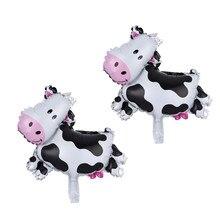 10 sztuk/partia Mini rozmiar zwierzęta krowa folia powietrza balony Farm theme birthday party baby shower dostawy mleka dla dzieci zabawki czarny globos