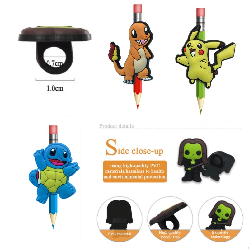 100pcs/lot Hot Anime Figure PVC Pen Caps  Pencil Toppers Students Stationery Cute Pikachu Pen Grips Straw Accessories Kids Gift