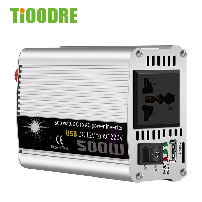 TiOODRE 500W Car Inverter 12v 220v 50Hz Auto Inverter 12 220 Plug Power Converter Inverter Overload Protection Peak Power