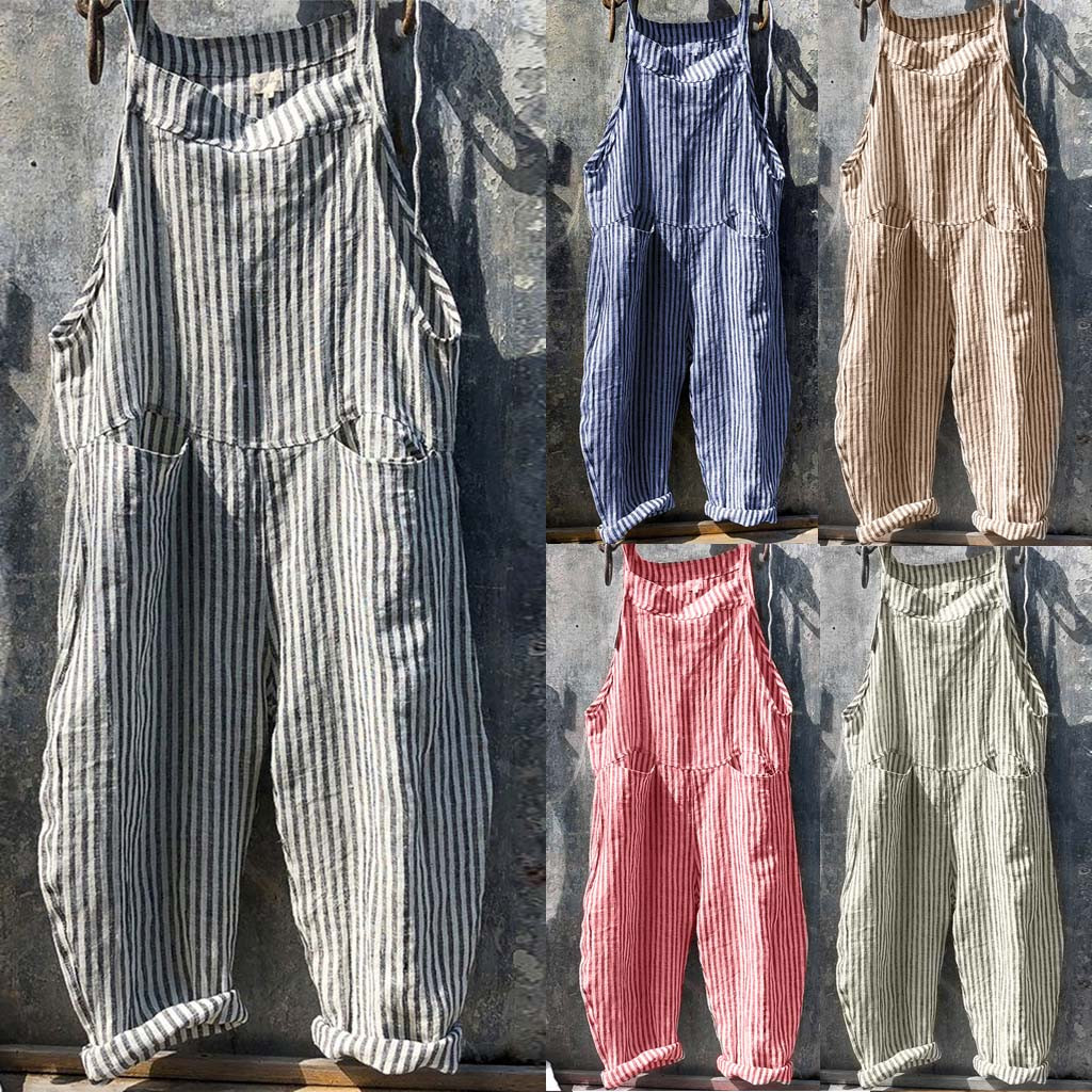 Rompers Women Casual Loose Linen Cotton Jumpsuit New 2020 Summer Sleeveless Playsuit Backless Trousers Overalls D1