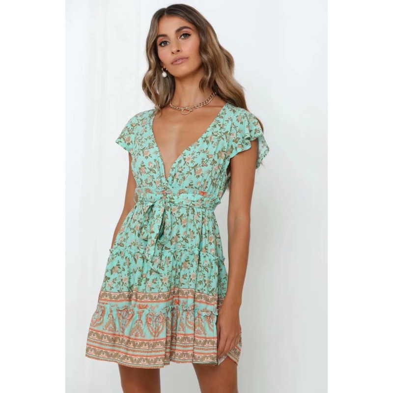 BGW 3162ht A Line Mini Cocktail Dresses Short Sleeves Floral Printing With Sashes Sexy V Neck Green Abendkleider Knielang 2020