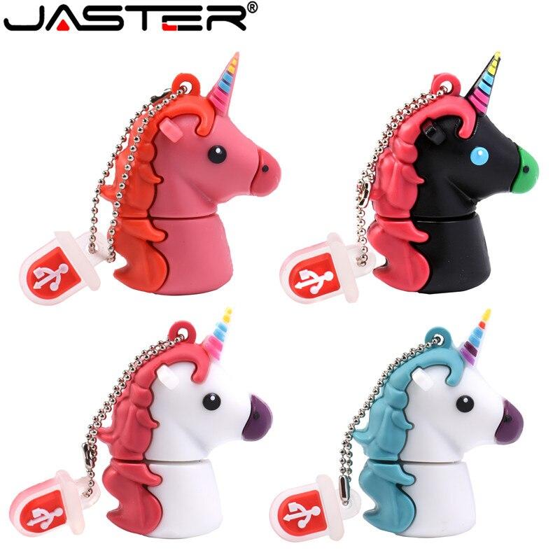 JASTER Colours Unicorn Horse Flash Drive USB 2.0 Cartoon Cute Hippocampus Real Shot Pen Drive 4G 8G 16G 32G 64GB USB Flash Drive