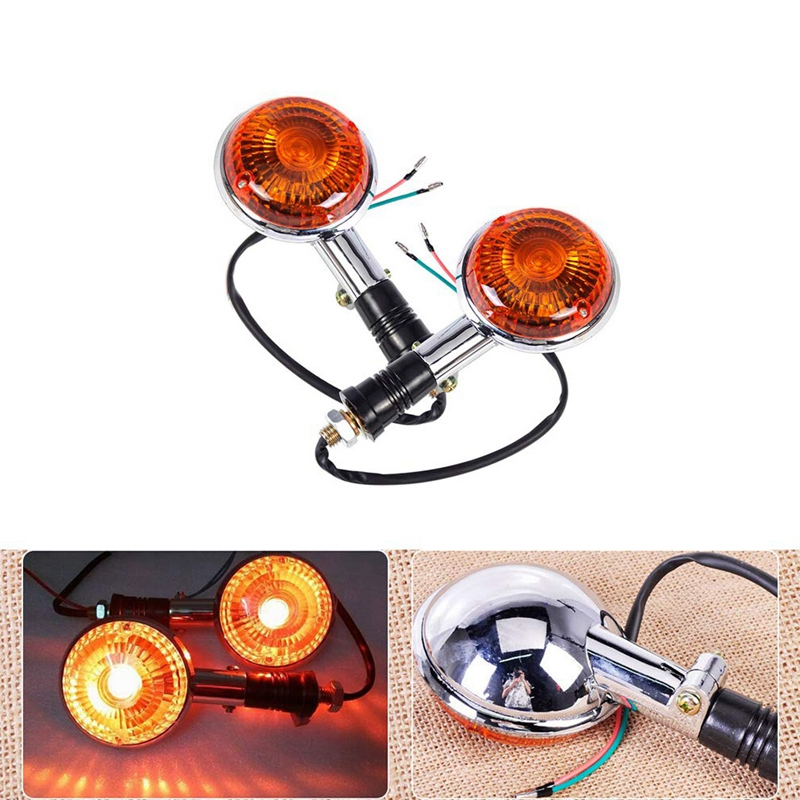 Motorcycle Amber Round Turn Signals Lights Blinker Indicator Lens For Yamaha Road Star Virago V Star 85-99 2 Pack
