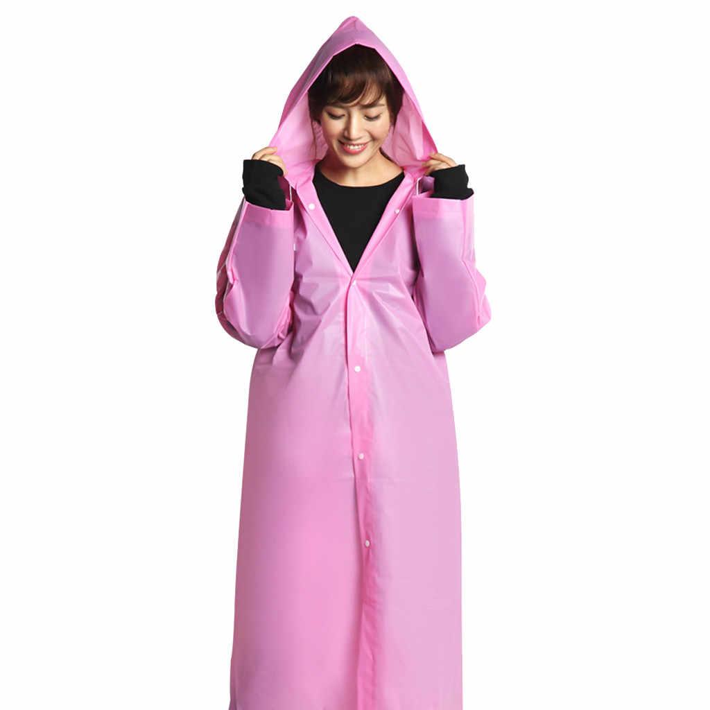 موضة بسيطة إيفا المرأة رجل معطف واق من المطر سميكة مقاوم للماء معطف واقي من المطر معطف الكبار واضح شفاف التخييم هوديي ملابس ضد المطر