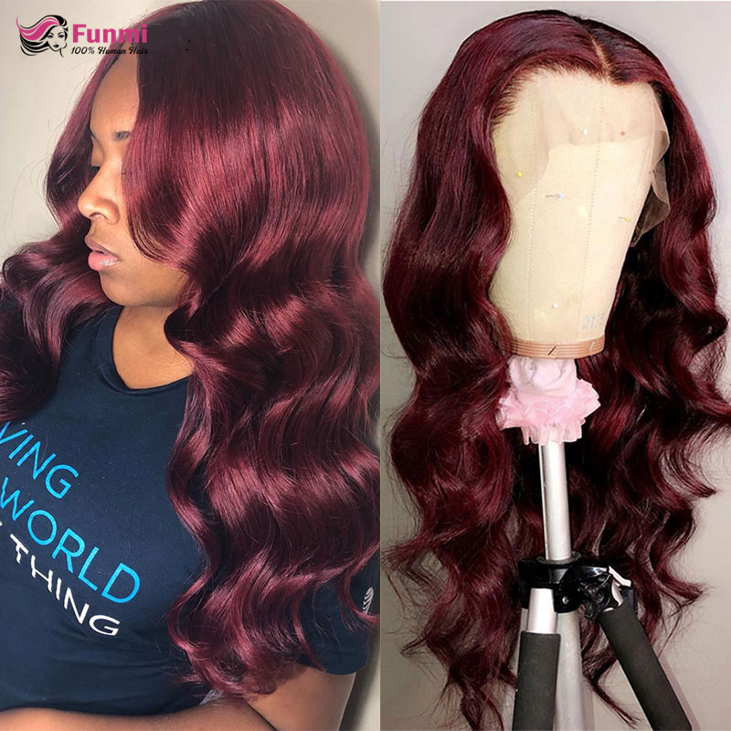 Burgundy Red Body Wave Wig Brazilian Lace Front Human Hair Wigs Colored Ombre Human Hair Wigs For Black Women Ginger Orange Wig