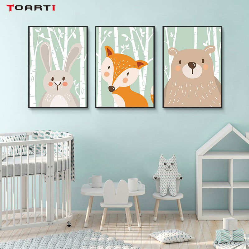 Cartoon Forest Animals Poster Prints Rabbit Fox Bear Canvas Painting On The Wall For Kids Bedroom Nursery Art Picture Home Decor (5)