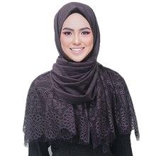 נשים פרח תחרה צעיף פוליאסטר המוסלמי חיג אב צעיפי כורכת סרט אופנה סתיו צעיפים/צעיף 11 צבע 180*70cm