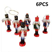 6PCS/Set 12.5cm Wooden Nutcracker Festive Decor Hanging Ornaments Child's Room Decoration Perfect for Shelves and Tables 30E(China)