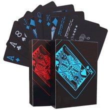 PVC Plastic Speelkaarten Set Dek Poker Waterdicht Game Poker Kaarten Party Magic Tricks Tool Zwarte Goud 54 Pcs Creative gift