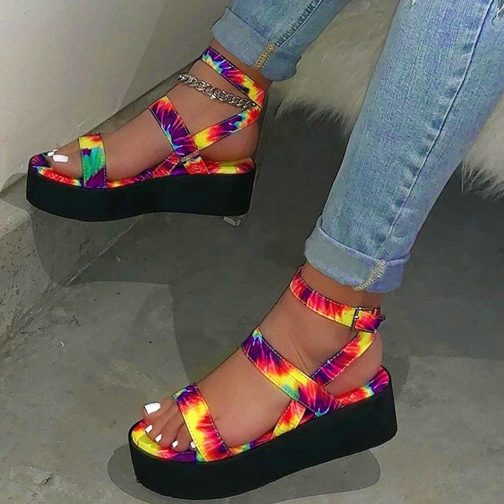 Сандалии женские на платформе, босоножки радужной расцветки, Ins стиль, большие размеры 35-43, летняя обувь