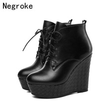 Fashion Genuine Leather Boots Women Wedges Heels Lace-up Soft Cowhide Platform Shoes Woman Party Ankle Boots High Heels showfun genuine leather shoes woman grit cowhide solid square heels boots