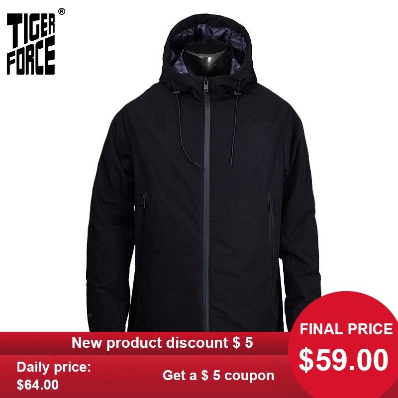 TIGER FORCE 2020 New Men's Jacket Hooded Windbreaker Windproof High Quality Warm Streetwear Outwear Casual Clothes TJBW-50636