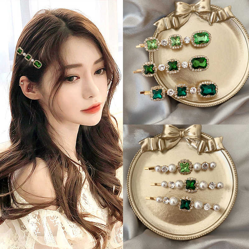 Elegancka perła szpilki do włosów geometryczny zielony spinki do włosów Barrettes nakrycia głowy opaski do włosów kobiece akcesoria do dekoracji włosów