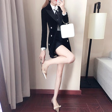 Women Clothes Black Gold Velvet Suit Jacket Double-breasted Ladies Korean Autumn New Professional Casual Small Suit Jacket Set(China)