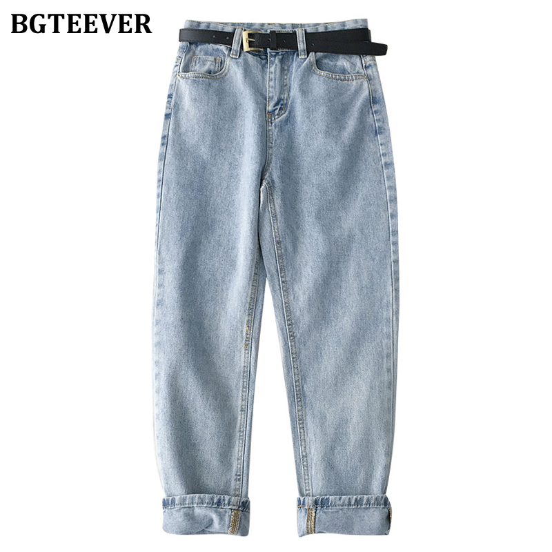 BGTEEVER Chic Straight Sashes Belted Women Jeans High Waist Denim Pants 2020 Spring Summer Jeans Trousers Female Streetwear