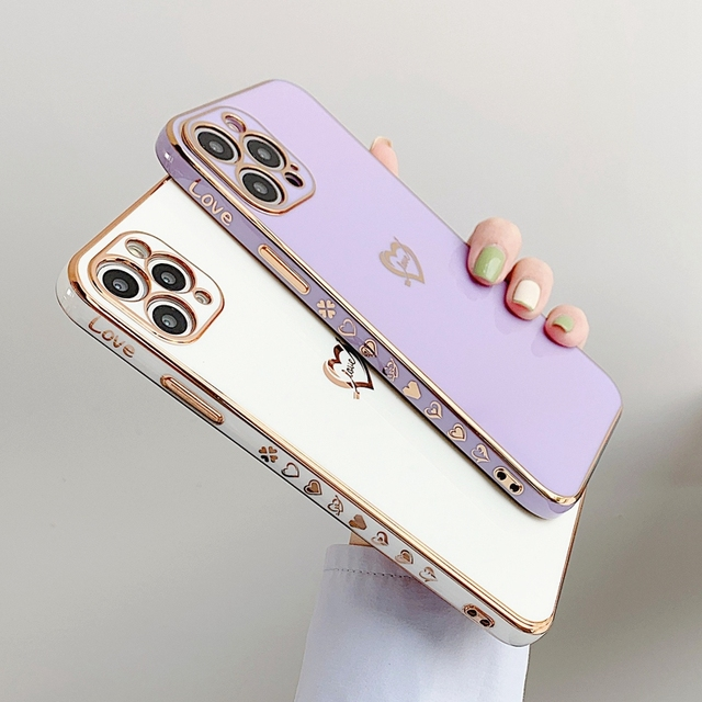 Electroplated Love Heart Phone Case For iPhone 11 12 Pro Max XS X XR 7 8 Plus Mini SE 2020 Soft Silicone Bumper Back Cover