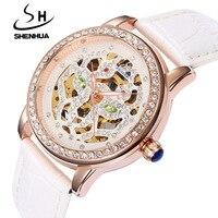 Shanghai Shenhua Watch Women Luxury Rose Gold Hollow Skeleton Automatic Mechanical Watches Ladies Fashion Rhinestone Wristwatch