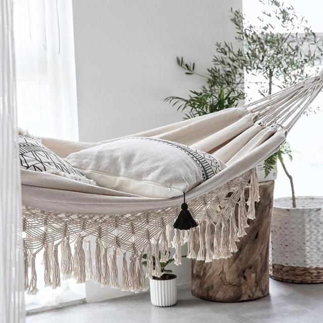 ins Style 2 Person Hammock Large Brazilian Macrame Fringe Double Deluxe Hammock Swing Net Chair Outdoor Indoor Hanging Deco 4